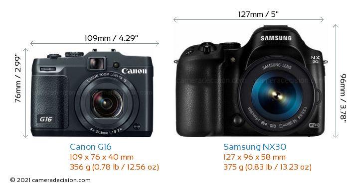 Canon G16 vs Samsung NX30 Camera Size Comparison - Front View