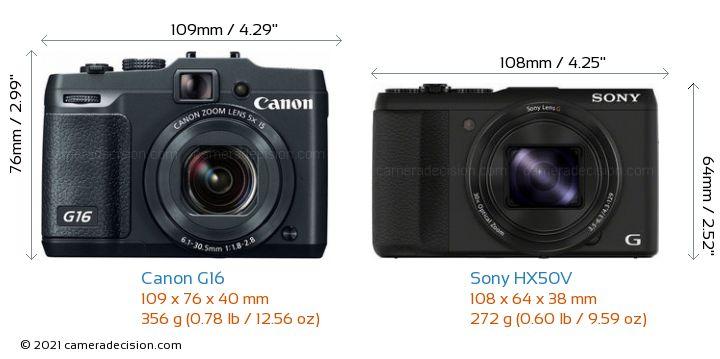 Canon G16 vs Sony HX50V Camera Size Comparison - Front View