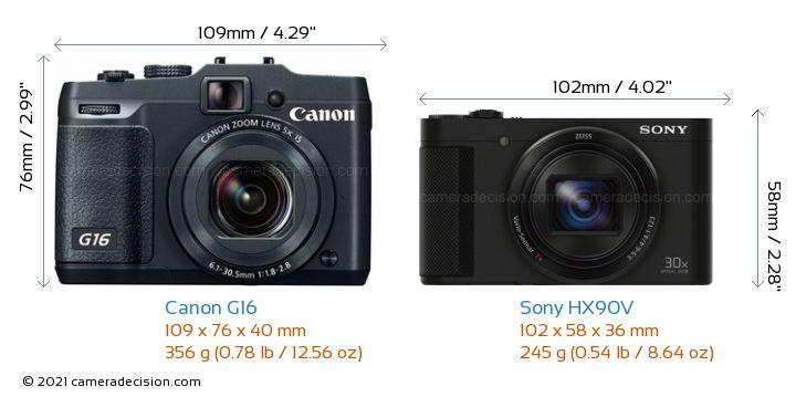 Canon G16 vs Sony HX90V Camera Size Comparison - Front View