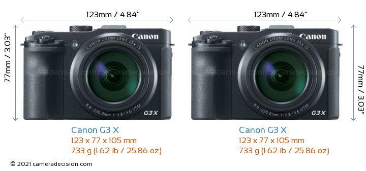 Canon G3 X vs Canon G3 X Camera Size Comparison - Front View