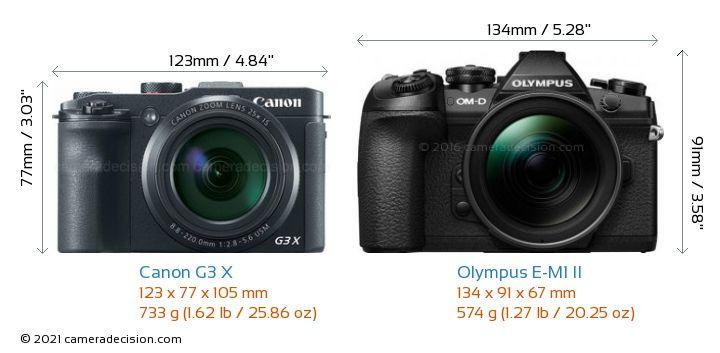 Canon G3 X vs Olympus E-M1 II Camera Size Comparison - Front View