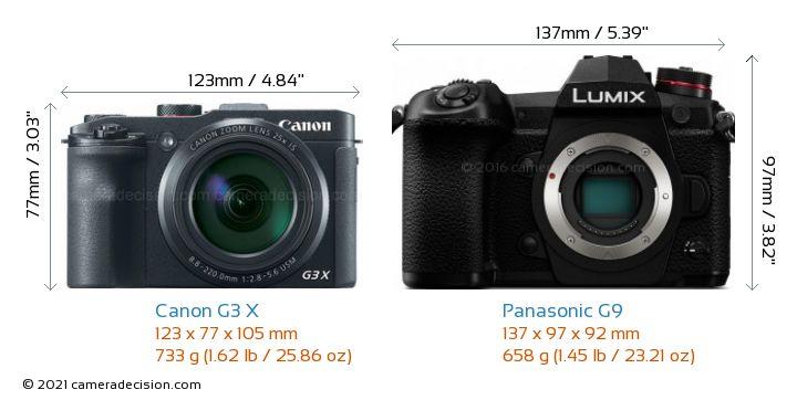 Canon G3 X vs Panasonic G9 Camera Size Comparison - Front View