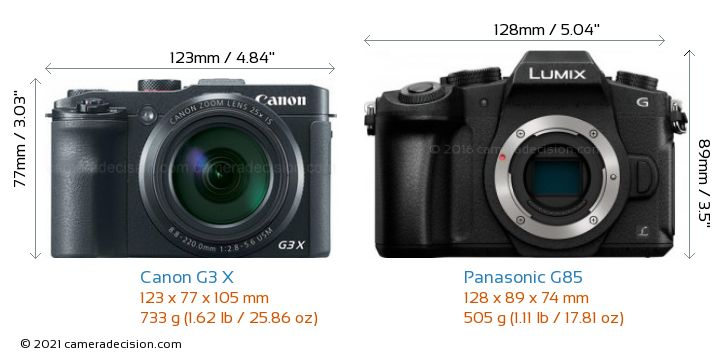 Canon G3 X vs Panasonic G85 Camera Size Comparison - Front View