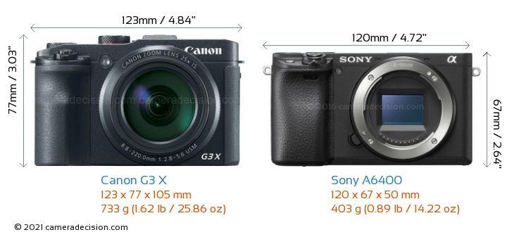 Canon G3 X vs Sony A6400 Camera Size Comparison - Front View