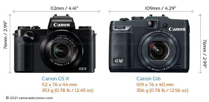 Canon G5 X vs Canon G16 Camera Size Comparison - Front View