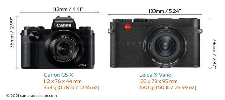 Canon G5 X vs Leica X Vario Camera Size Comparison - Front View