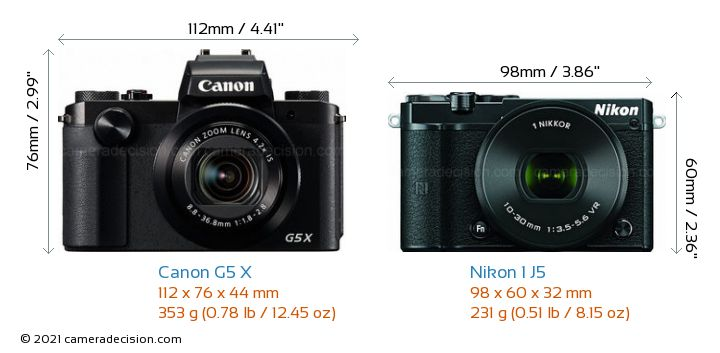 Canon G5 X vs Nikon 1 J5 Camera Size Comparison - Front View
