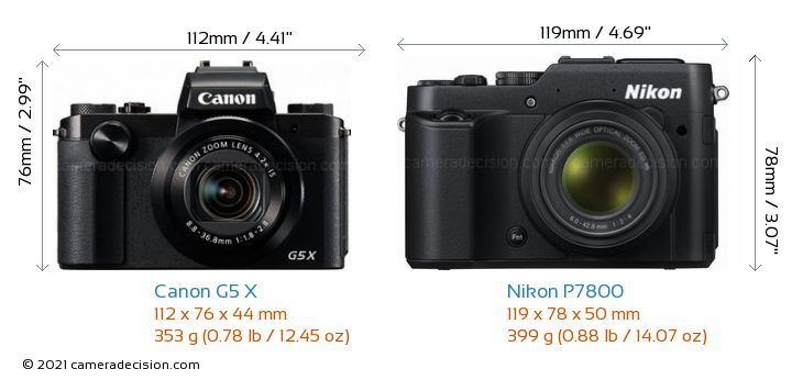 Canon G5 X vs Nikon P7800 Camera Size Comparison - Front View