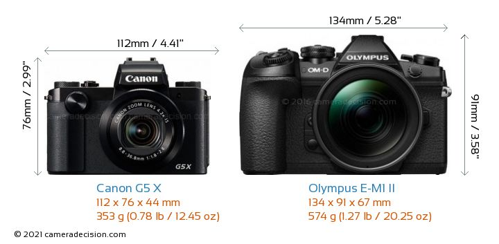 Canon G5 X vs Olympus E-M1 II Camera Size Comparison - Front View