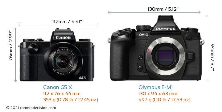 Canon G5 X vs Olympus E-M1 Camera Size Comparison - Front View