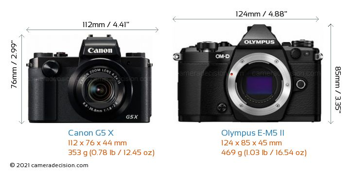 Canon G5 X vs Olympus E-M5 II Camera Size Comparison - Front View