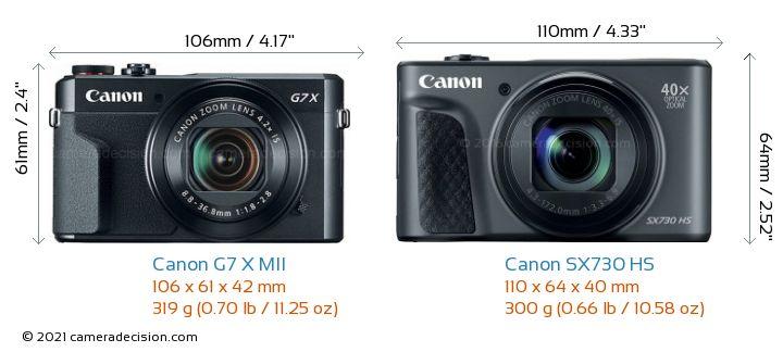 Canon G7 X MII vs Canon SX730 HS Camera Size Comparison - Front View