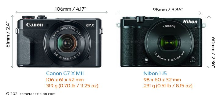Canon G7 X MII vs Nikon 1 J5 Camera Size Comparison - Front View