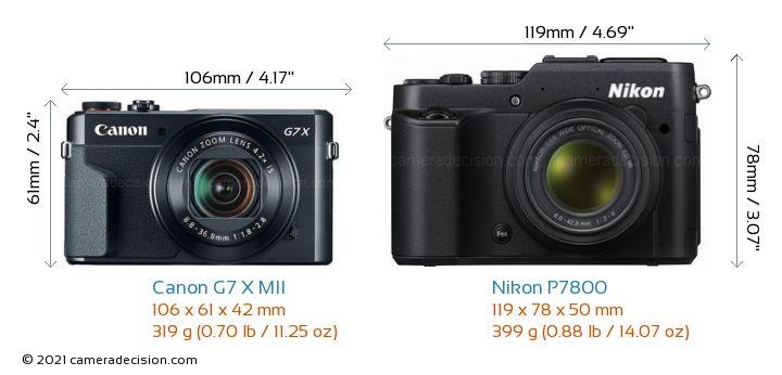 Canon G7 X MII vs Nikon P7800 Camera Size Comparison - Front View