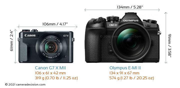 Canon G7 X MII vs Olympus E-M1 II Camera Size Comparison - Front View