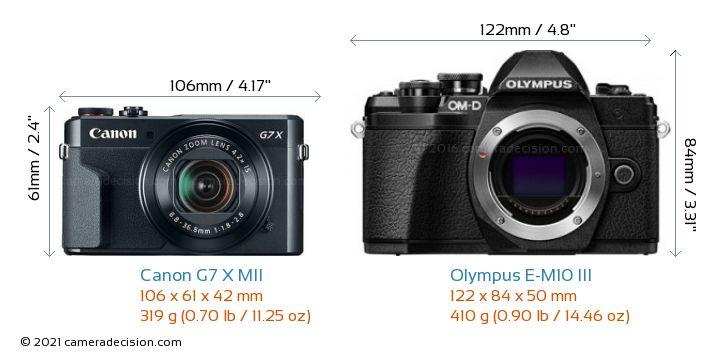Canon G7 X MII vs Olympus E-M10 MIII Camera Size Comparison - Front View