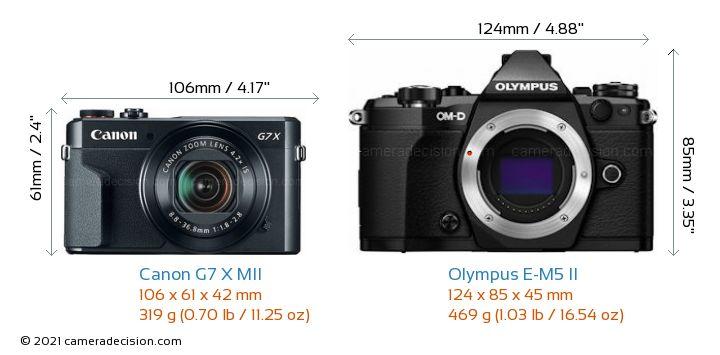 Canon G7 X MII vs Olympus E-M5 II Camera Size Comparison - Front View