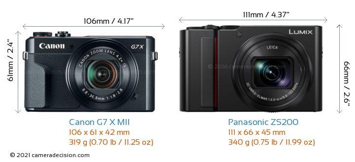 Canon G7 X MII vs Panasonic ZS200 Camera Size Comparison - Front View
