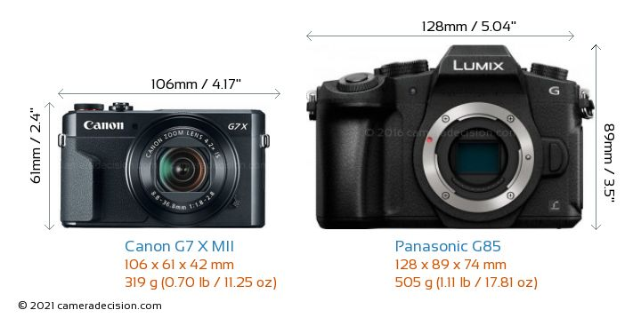 Canon G7 X MII vs Panasonic G85 Camera Size Comparison - Front View