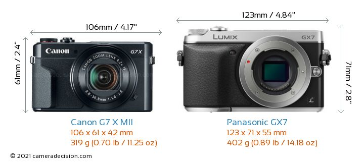 Canon G7 X MII vs Panasonic GX7 Camera Size Comparison - Front View