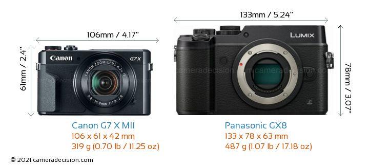 Canon G7 X MII vs Panasonic GX8 Camera Size Comparison - Front View