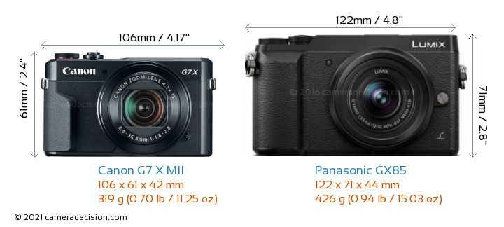 Canon G7 X MII vs Panasonic GX85 Camera Size Comparison - Front View