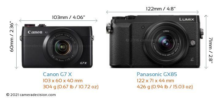 Canon G7 X vs Panasonic GX85 Camera Size Comparison - Front View