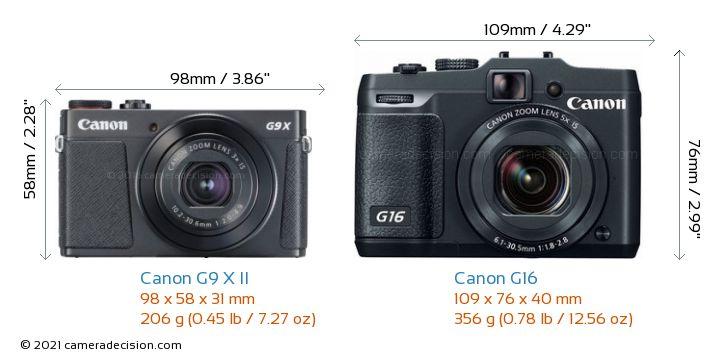 Canon G9 X II vs Canon G16 Camera Size Comparison - Front View