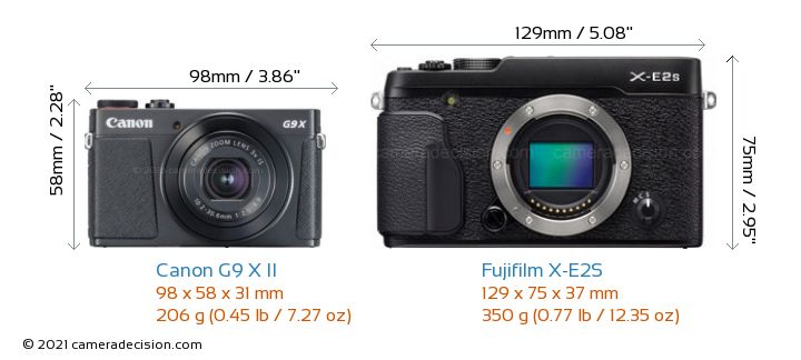 Canon G9 X II vs Fujifilm X-E2S Camera Size Comparison - Front View