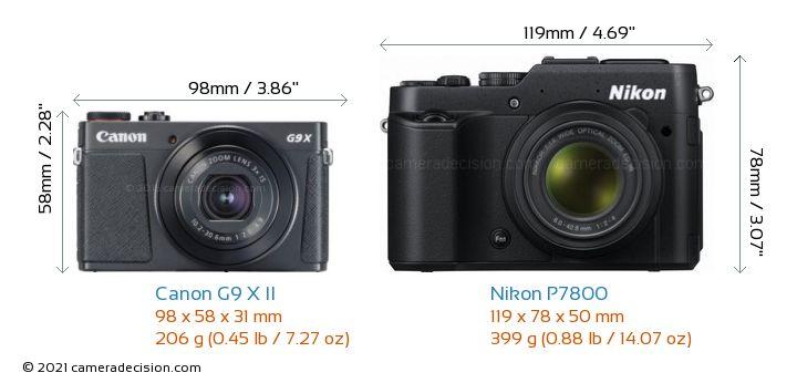 Canon G9 X II vs Nikon P7800 Camera Size Comparison - Front View