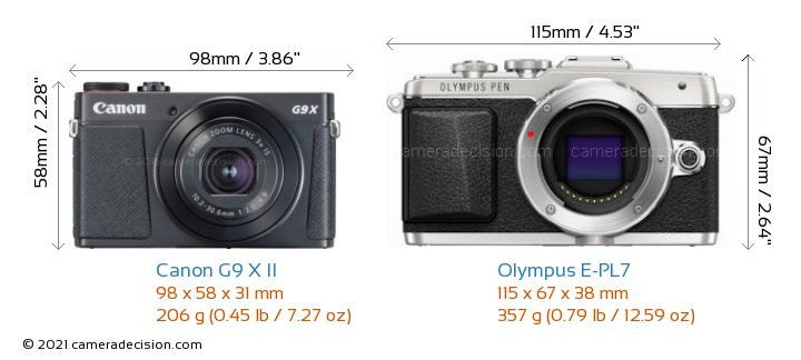 Canon G9 X II vs Olympus E-PL7 Camera Size Comparison - Front View