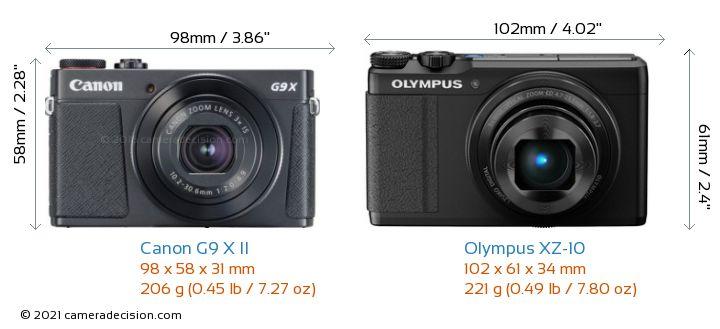 Canon G9 X II vs Olympus XZ-10 Camera Size Comparison - Front View