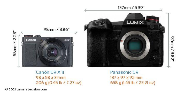 Canon G9 X II vs Panasonic G9 Camera Size Comparison - Front View