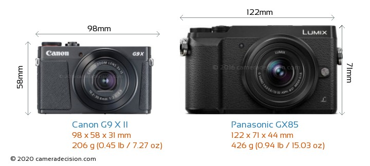 Canon G9 X II vs Panasonic GX85 Camera Size Comparison - Front View