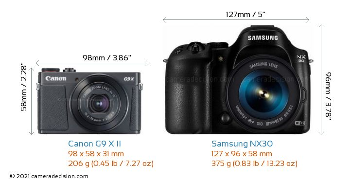Canon G9 X II vs Samsung NX30 Camera Size Comparison - Front View