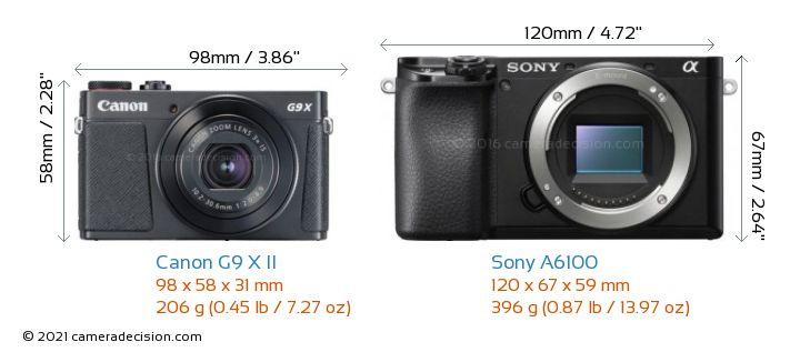 Canon G9 X II vs Sony A6100 Camera Size Comparison - Front View