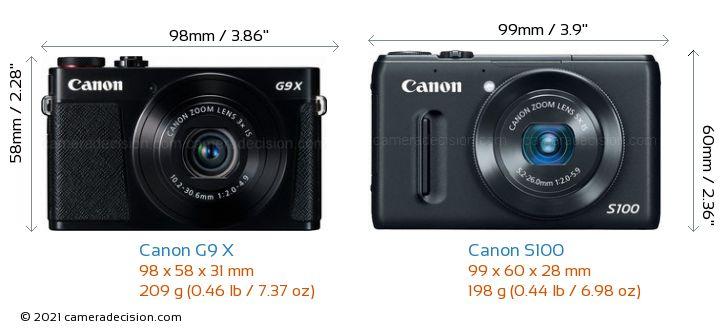 Canon G9 X vs Canon S100 Camera Size Comparison - Front View