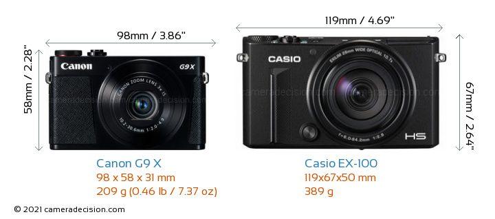 Canon G9 X vs Casio EX-100 Camera Size Comparison - Front View