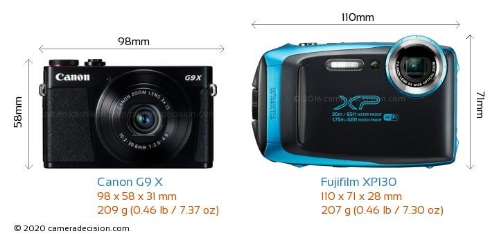 Canon G9 X vs Fujifilm XP130 Camera Size Comparison - Front View