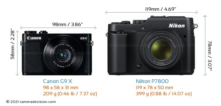 Canon G9 X vs Nikon P7800 Camera Size Comparison - Front View