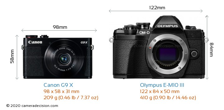 Canon G9 X vs Olympus E-M10 MIII Camera Size Comparison - Front View