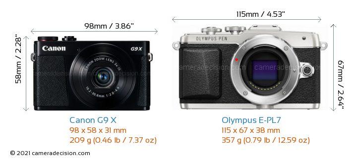 Canon G9 X vs Olympus E-PL7 Camera Size Comparison - Front View