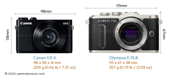 Canon G9 X vs Olympus E-PL8 Camera Size Comparison - Front View