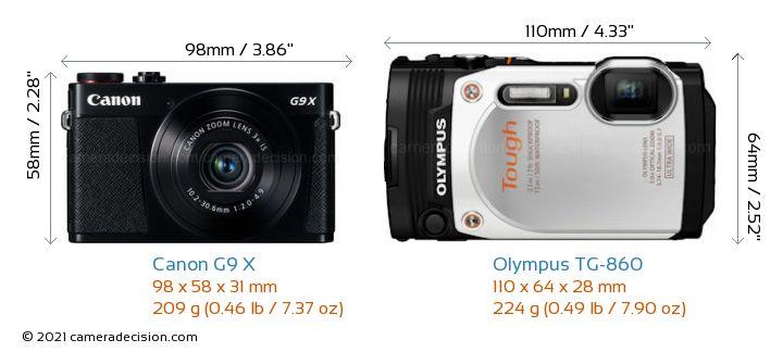 Canon G9 X vs Olympus TG-860 Camera Size Comparison - Front View