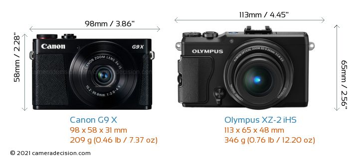 Canon G9 X vs Olympus XZ-2 iHS Camera Size Comparison - Front View
