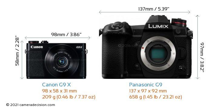 Canon G9 X vs Panasonic G9 Camera Size Comparison - Front View