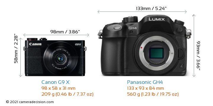 Canon G9 X vs Panasonic GH4 Camera Size Comparison - Front View