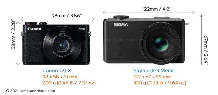 Canon G9 X vs Sigma DP3 Merrill Camera Size Comparison - Front View