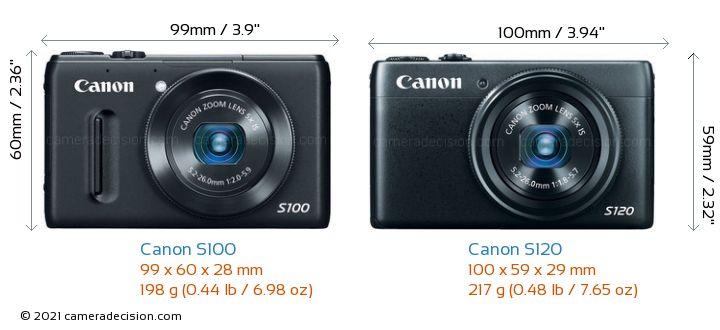 Canon S100 vs Canon S120 Camera Size Comparison - Front View