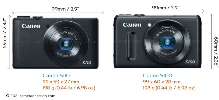 Canon S110 vs Canon S100 Camera Size Comparison - Front View